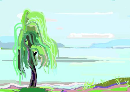 Lone willow on coast of large lake, summer Illustration