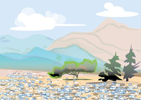summer day: Monta�as en d�a de verano suuny. Piedras cerca de �rboles