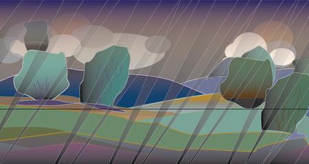 rains: Landscape with bad weather. Clouds, rains Illustration