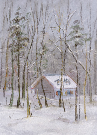 Deep snowdrift, little house in wood Winter day
