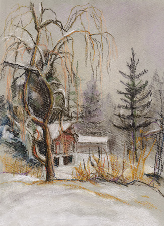 settlement: Winter landscape with high old willow Stock Photo