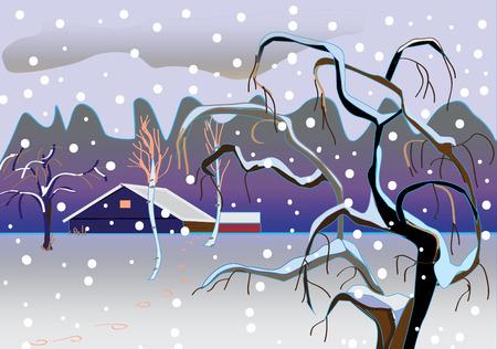 coberto de neve: Paisagem do inverno com �rvores, coberto de neve. queda de neve.