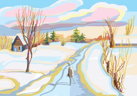 rural road: Sunny winter in village. Deep snowdrift. Rural road. Illustration