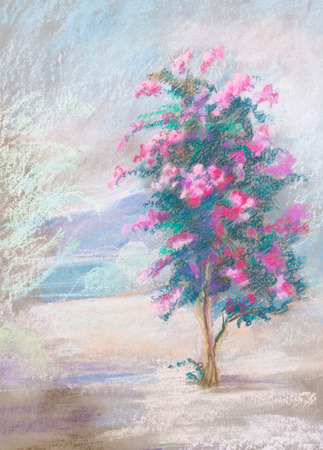 flowering: Flowering tree near sea and mountains. Summer