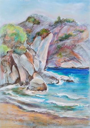 breakage: Roca rotura en la costa en un d�a soleado,