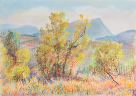 pastel: End of summer. Trees in front of high mountains