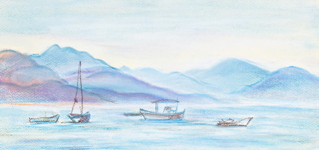 distances: Fishing boats in sea. In distances high mountains
