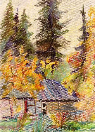 prospects: Septerber day. Old house, surrounded spruces and apple-trees