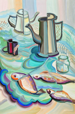 coffee pot: Still life with coffee pot and fish