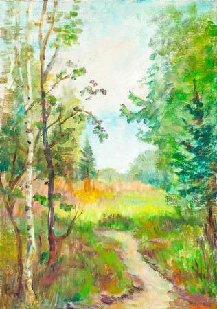 晴れた夏の日。森の田舎の道 写真素材