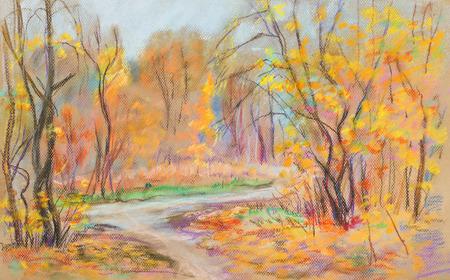rural road: Panorama of autumn nature, rural road between trees