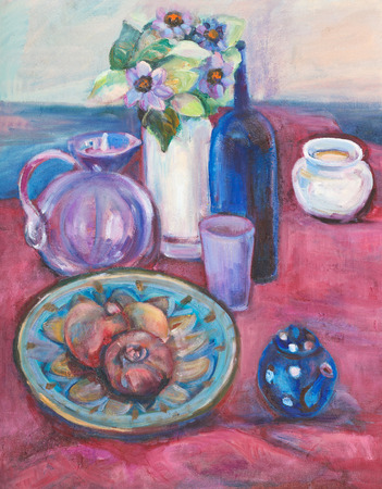 claret: Still life on claret cloth and flowers