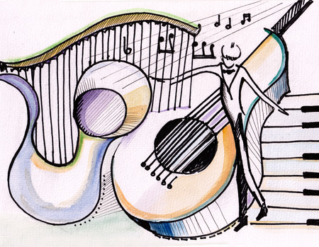 rehearsal: Orchestra rehearsal. Saxophone, grand piano and harp