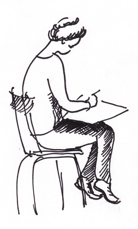 sits: Young woman sits on chair and drawing Stock Photo