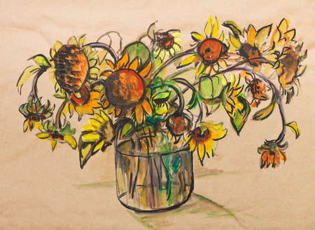 faded: Faded bouquet of sunflowers in bank with water