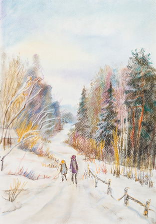 rural road: Rural winter road in forest. Sunny day