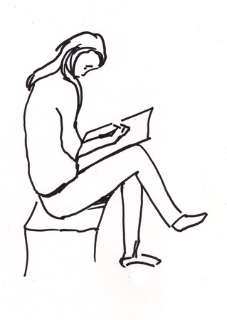 fine tip: Girl is  sitting on chair and trying to draw
