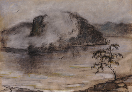 early morning, fog over water, spring