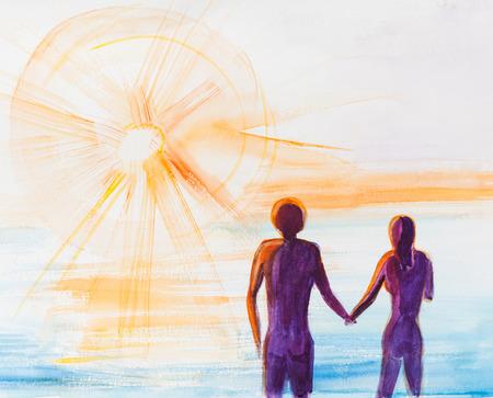 panoramic beach: Two people, man and woman near sea on sun rise