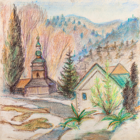 moutains: Wooden church . In distance high moutains. March Stock Photo