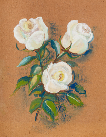 back ground: The white roses on brown back ground