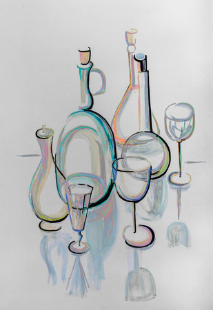 still: still life with glassware, painting by gouache