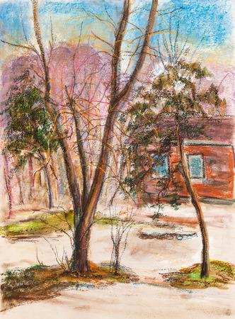 begining: Inizio di primavera, marzo, neve riposa vicino agli alberi