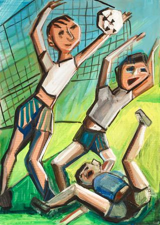 yard: Boys play in a court yard in football