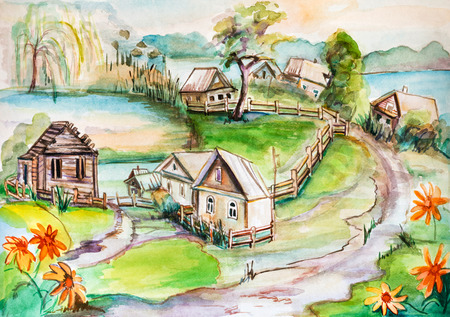 painting house: panorama of little ancient village near lake