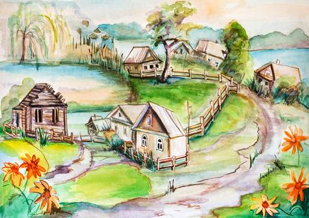 village house: panorama of little ancient village near lake