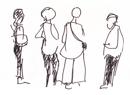sketch drawing: Instant sketch, people in the airoport waiting arrived friend