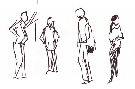 arrived: Instant sketch, people in the airoport waiting arrived friend