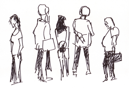 instant: Instant sketch, people in the airoport waiting arrived friend