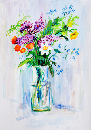 Summer bouquet of different flowers in glass vase Stock Photo