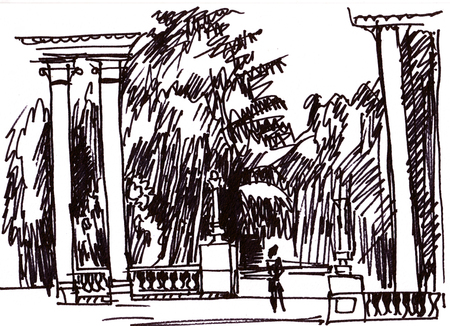 colonnade: Instant sketch, colonnade in the park, summer