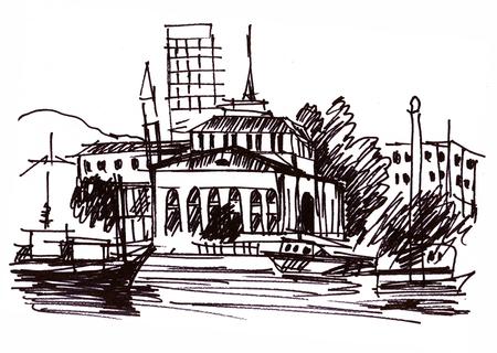 Instant sketch, view tio cityon beach Banco de Imagens