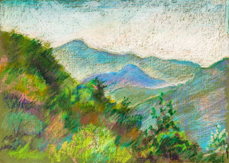 mountain view: High mountains in Erge, Georgia,  summer day
