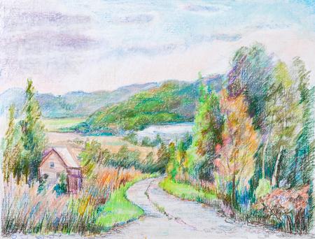 rural road: Rural road in the hills. Beginning of autumn