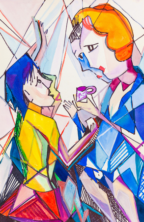 interst: Two women drink tea and conversation