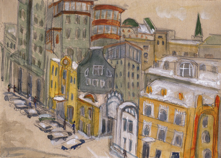 illustration and painting: street of Moscow, view from window Stock Photo