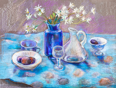 still: Still life with fruits on blue cloth