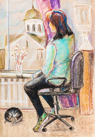 revival: Woman sitting near windows. Pussy-willow revival
