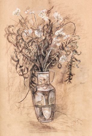 dry: Bouquet of dry flowers in vase