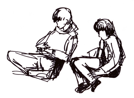 instant: Instant sketch, figures of sitting boy and girl