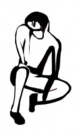 instant: Instant sketch, figure of sitting man Stock Photo
