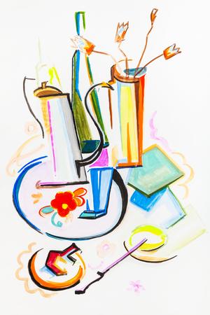 still: Still life with bottles and coffepot