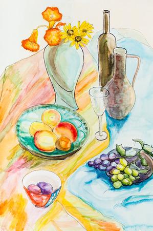 still life: Still life on bright cloth with fruits Stock Photo