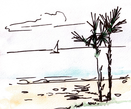 palmtrees: Sea landscape with two palm-trees