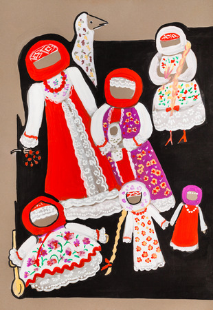 motley: Magic dolls in motley dresses
