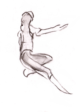 instant: Instant sketch, girl does gymnastic Stock Photo